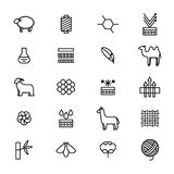 Symbols of Fabric Feature Thin Line Icon Set. Vector Stock Image