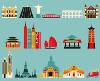 Symbols of famous cities. Royalty Free Stock Photography
