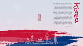 Symbols of famous landmarks in South Korea. Hieroglyph meaning: Republic of Korea Royalty Free Stock Photography