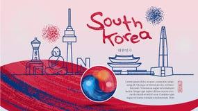 Symbols of famous landmarks in South Korea. Hieroglyph meaning: Republic of Korea Royalty Free Stock Photos