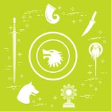 Symbols of the fantasy television series. Symbols of the popular fantasy television series. Art and cinema theme Stock Photography