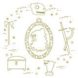 Symbols of the fantasy television series. Symbols of the popular fantasy television series. Art and cinema theme Royalty Free Stock Photo