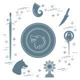 Symbols of the fantasy television series. Symbols of the popular fantasy television series. Art and cinema theme Stock Photo