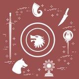 Symbols of the fantasy television series. Symbols of the popular fantasy television series. Art and cinema theme Royalty Free Stock Photos