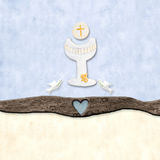 The symbols of the First Communion. The chalice and the bread with cross and doves flying nearby as First Communion symbols Royalty Free Stock Images