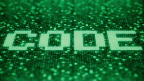 Code word being made with flashing hexadecimal symbols on a green screen. Loopable 3 d animation royalty free illustration
