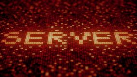 Server word being made with flashing hexadecimal symbols on a red screen. Loopable 3D animation. Symbols flashing on a red computer screen vector illustration