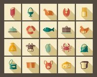 Symbols of food in style of a retro royalty free illustration