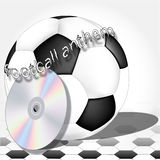 Symbols of the football player. Soccer begins with the football anthem and a legendary ball Royalty Free Stock Photos
