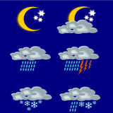 Symbols forecast. The illustration represents the symbols of the weather, in all its typical weather situations. Drawings are very clear and explicit, the goal Stock Illustration