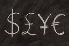 Symbols of four currencies on blackboard. Dollar, pound, yen and euro symbols sketched with white chalk on a black board Royalty Free Stock Photo