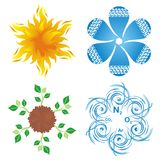 Symbols of four elements. Set of round blossom-like symbols of four elements, earth, water, air and fire Royalty Free Stock Photography