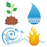 Symbols of four elements. Set of symbols of four elements, earth, water, air and fire Stock Image