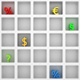 Symbols in frame. Multicolored financial and legal symbols in white frame Royalty Free Stock Image