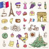 Symbols of France as funky doodles Stock Image