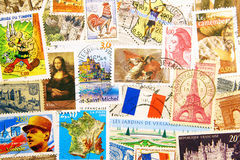 Symbols of France on postage stamps stock photo