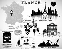 Symbols of France. Vector set. Travel concept Royalty Free Stock Images