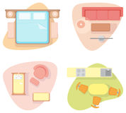 Symbols of furniture of different rooms Stock Image