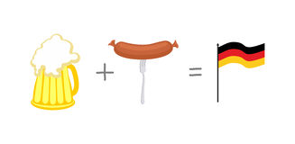 Symbols of Germany. Beer and sausages. Mathematical formula: bee Royalty Free Stock Photo