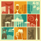 The symbols of Germany and Berlin in retro style Royalty Free Stock Photography