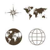 Symbols of global technology, international associations, travel, expeditions and ect. Stock Photos