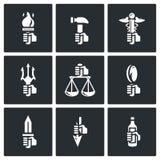 Symbols of the gods in Greek mythology icons set. Vector Illustration. Royalty Free Stock Images