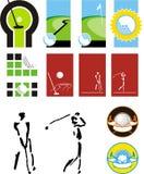 Symbols for a golf. Symbolical images of balls for a golf, sticks, players, paths for a minigolf Stock Image