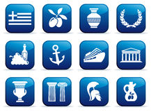 Symbols of Greece on buttons Royalty Free Stock Photos