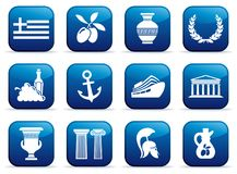 Symbols of Greece on buttons. Traditional symbols of Greece on buttons. Vector illustration Royalty Free Stock Images