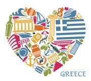 Symbols of Greece in the form of heart Stock Image