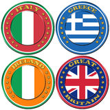 Symbols of Greece, Italy, Ireland, Great Britain Stock Photos