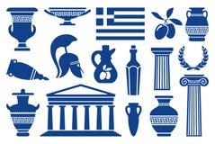 Symbols of Greece. Traditional symbols of Greece. Monochrome icons. Vector illustration Royalty Free Stock Photo