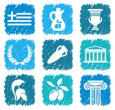 Symbols of Greece. Traditional symbols of Greece. Vector stylized illustration Royalty Free Stock Images