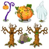 Symbols of Halloween - scary tree, pumpkin, ghost, grave, lantern. Six icons set isolated on white background. Vector Stock Photography