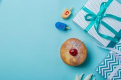 Symbols of hanukkah on blue background stock photos