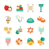 Symbols Of Hanukkah Icons Set Royalty Free Stock Photos