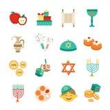 Symbols Of Hanukkah Icons Set Royalty Free Stock Photos