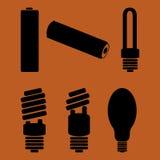 Symbols of hazardous waste. Batteries and mercury lamps Stock Photos