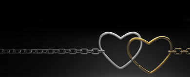 Symbols hearts on a chain. On black background . 3d render Stock Photos