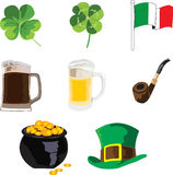 Symbols of the holiday of St. Patrick Stock Images