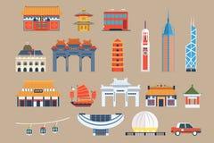 Symbols of Hong Kong sett, Chineset landmarks, travel elements vector Illustrations on a beige background royalty free illustration