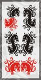 Symbols of the horse head. Tribal horse heads. Red and black options on a gray background Royalty Free Stock Images