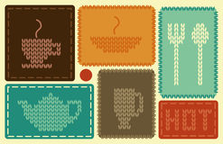 Symbols of hot dishes and drinks. In style of needlework Stock Image