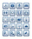 Symbols hotel services. Signs set motel services stock photos
