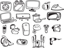Symbols of household appliances and electronic Stock Image