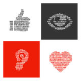 Symbols of human body parts filled in binary symbols Stock Photo