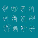 Symbols of human mind states. Line icons set representing abstract symbols of human mind states. Mental health symbols, personality characteristics stock illustration