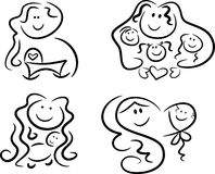 Symbols/Icons: Mother love. Collection of four black-and-white icons representing motherly love and family values: Pregnant mom looking forward to her baby's Royalty Free Stock Images