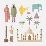Symbols of India. Flat icon Stock Image