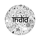Symbols of India in the form of circle. Hand drawing elements of India on a white background Stock Photos